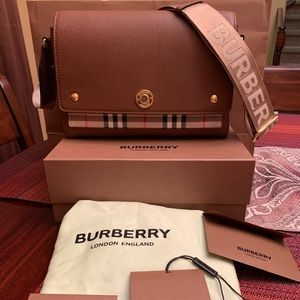 Burberry Leather and Vintage Check Crossbody Bag
